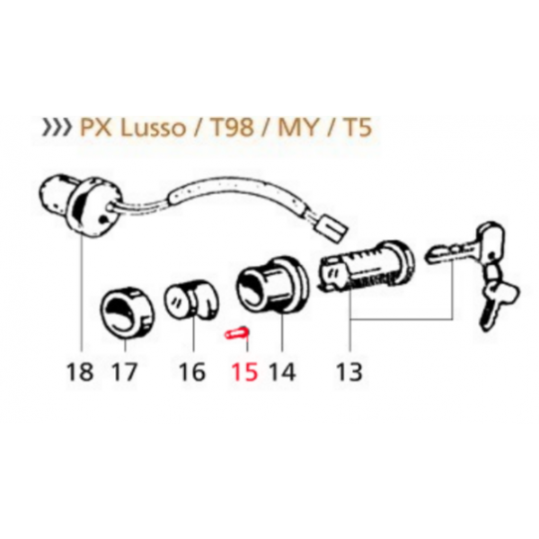 Steering Lock Spring for Vespa PX80-200E Lusso '98 MY T5 LML Star 125 Lite 4T